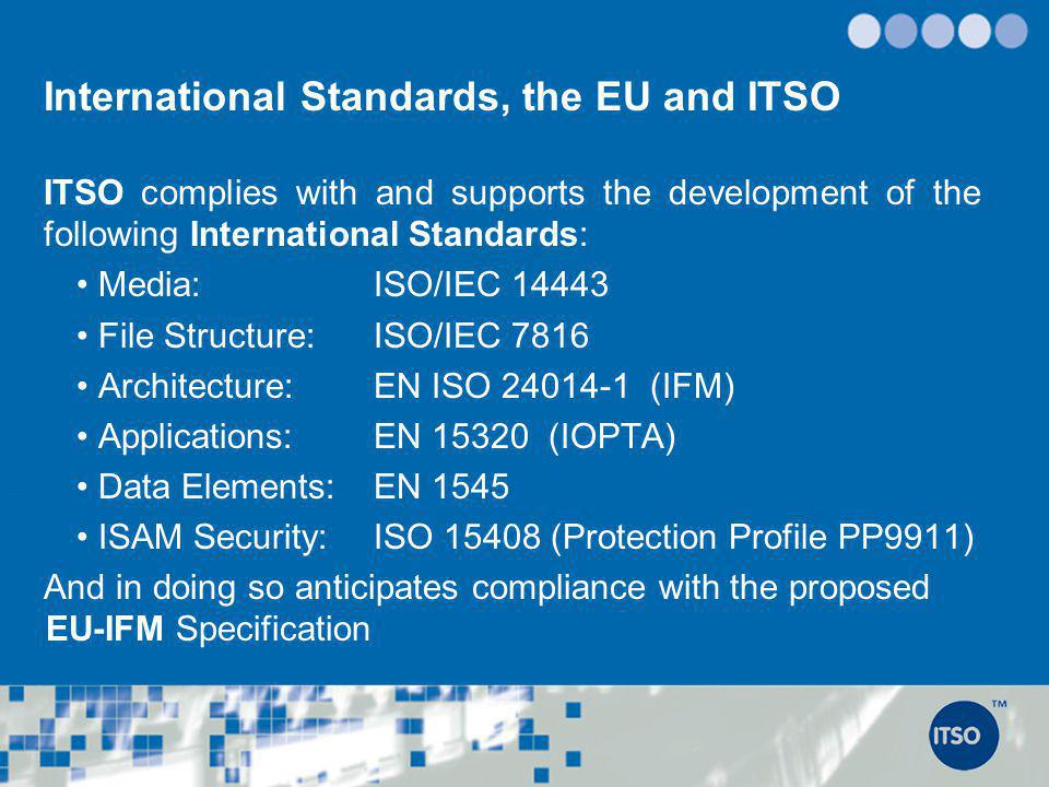 International Standards, the EU and ITSO ITSO complies with and supports the development of the following International Standards: Media: ISO/IEC 1444