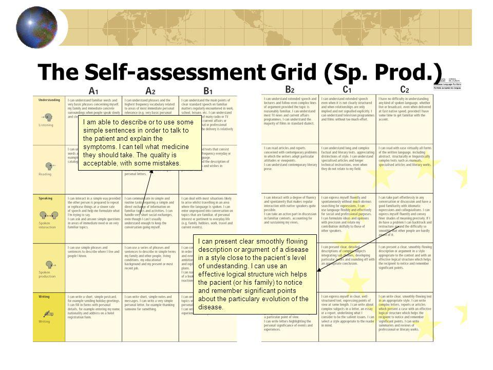 The Self-assessment Grid (Sp. Prod.) I am able to describe or to use some simple sentences in order to talk to the patient and explain the symptoms. I