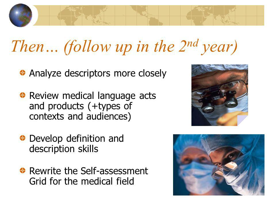 Then… (follow up in the 2 nd year) Analyze descriptors more closely Review medical language acts and products (+types of contexts and audiences) Develop definition and description skills Rewrite the Self-assessment Grid for the medical field