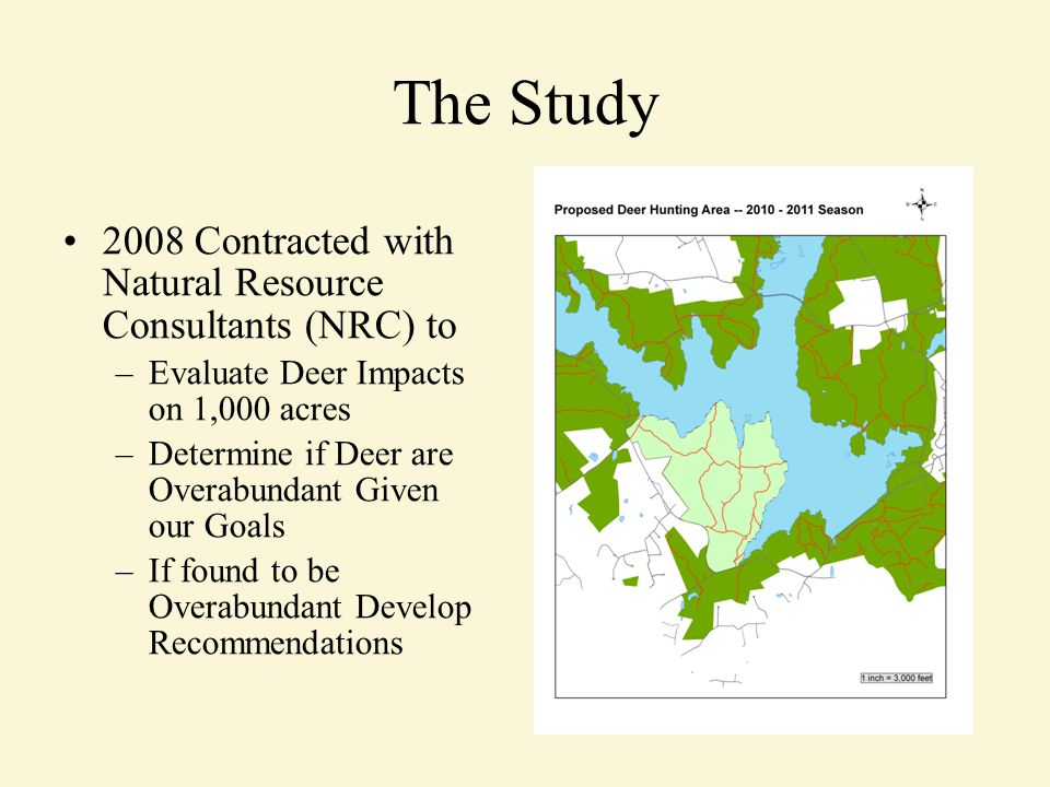 The Study 2008 Contracted with Natural Resource Consultants (NRC) to –Evaluate Deer Impacts on 1,000 acres –Determine if Deer are Overabundant Given our Goals –If found to be Overabundant Develop Recommendations