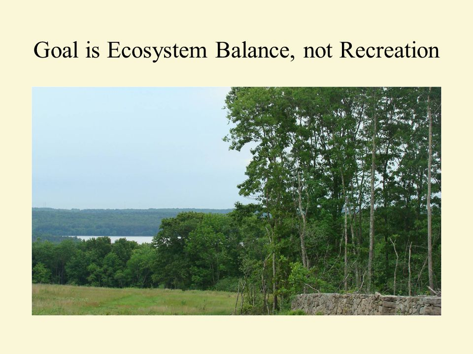 Goal is Ecosystem Balance, not Recreation