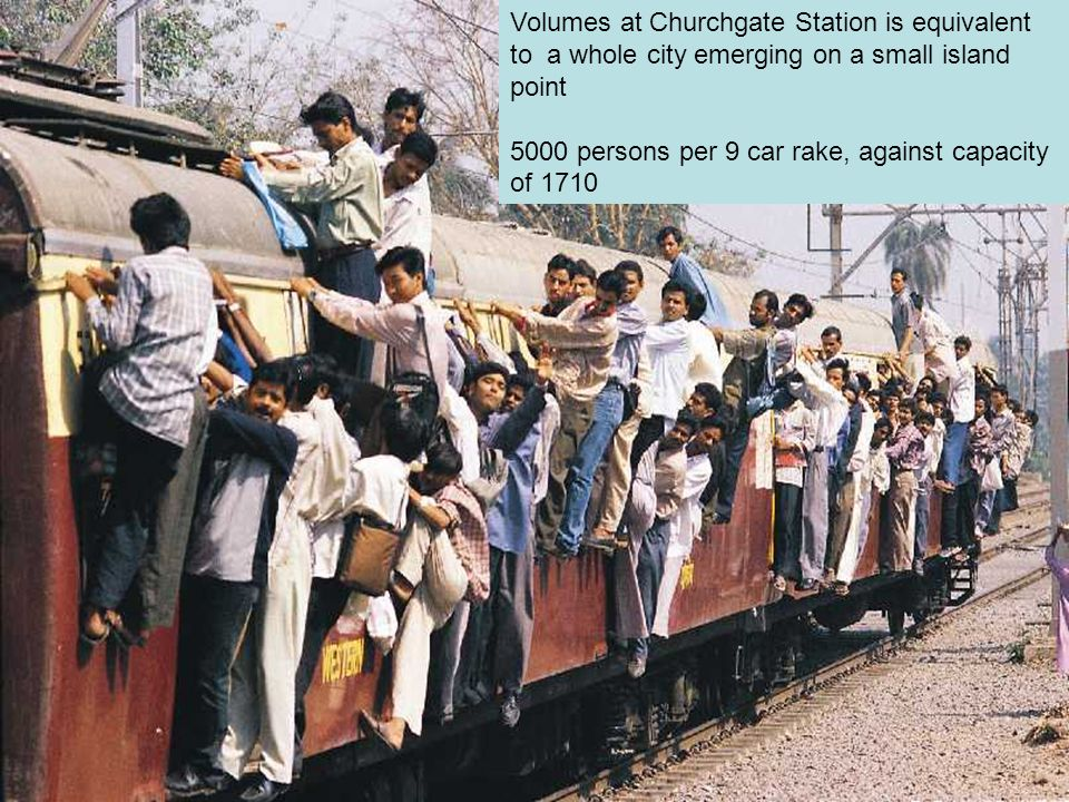 IV International Conference - Towards Carfree Cities, Bogota, 20-24 Sept 2006 Volumes at Churchgate Station is equivalent to a whole city emerging on a small island point 5000 persons per 9 car rake, against capacity of 1710