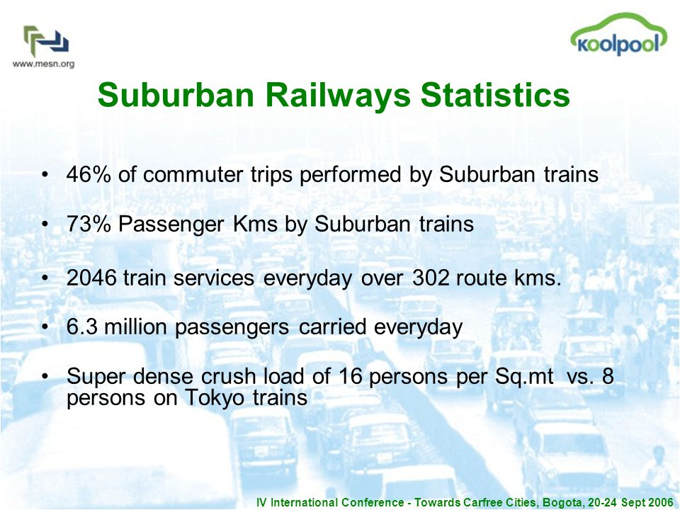 IV International Conference - Towards Carfree Cities, Bogota, 20-24 Sept 2006 Suburban Railways Statistics 46% of commuter trips performed by Suburban trains 73% Passenger Kms by Suburban trains 2046 train services everyday over 302 route kms.