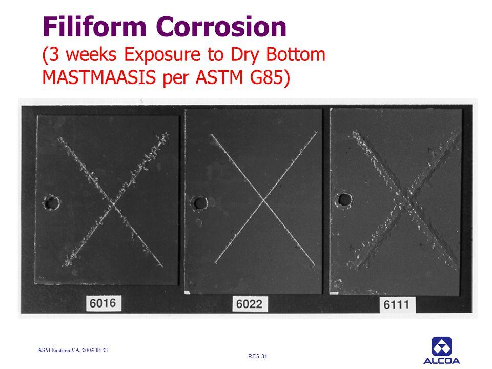 RES-31 ASM Eastern VA, 2005-04-21 Filiform Corrosion (3 weeks Exposure to Dry Bottom MASTMAASIS per ASTM G85)