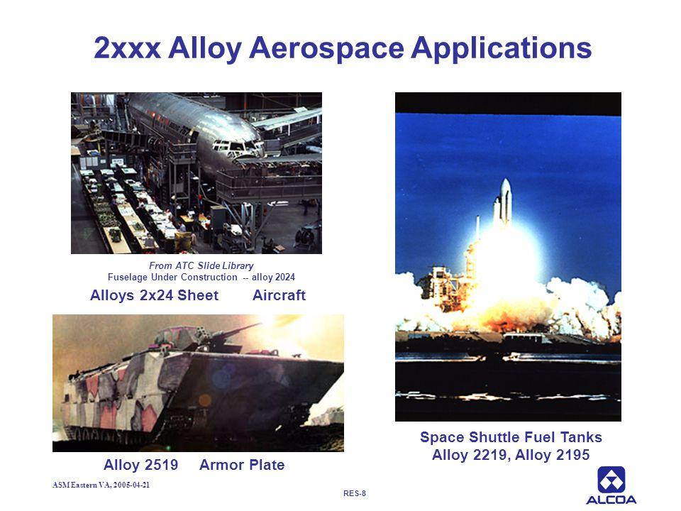 RES-8 ASM Eastern VA, 2005-04-21 2xxx Alloy Aerospace Applications Alloy 2519 Armor Plate Space Shuttle Fuel Tanks Alloy 2219, Alloy 2195 Alloys 2x24