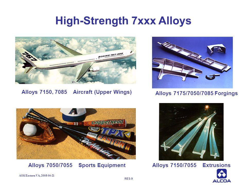 RES-9 ASM Eastern VA, 2005-04-21 High-Strength 7xxx Alloys Alloys 7050/7055 Sports EquipmentAlloys 7150/7055 Extrusions Alloys 7150, 7085 Aircraft (Up