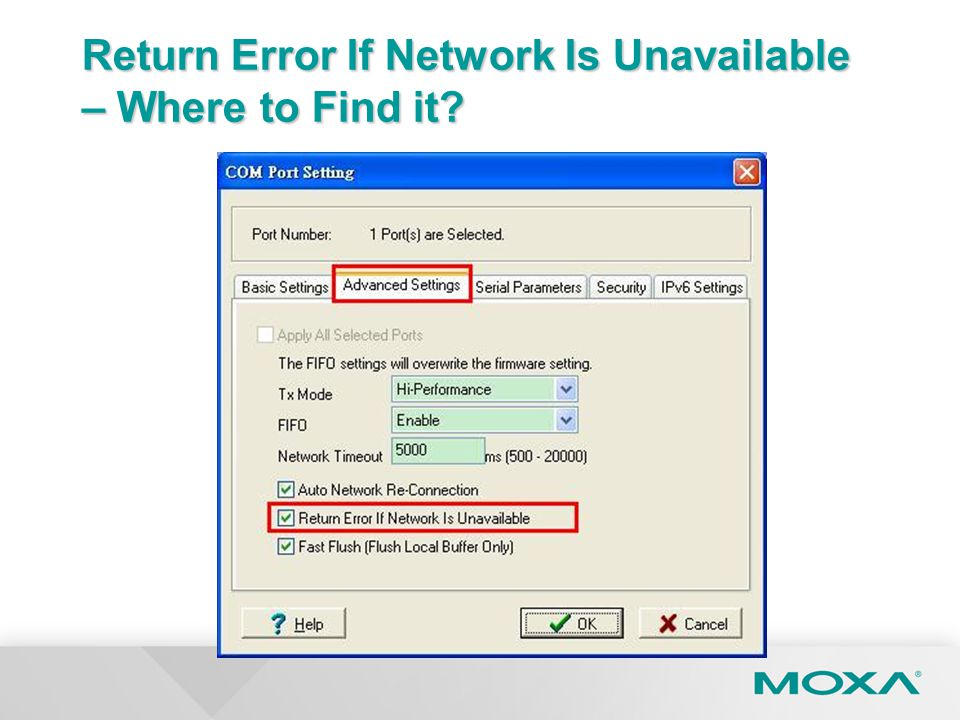Return Error If Network Is Unavailable – Where to Find it?