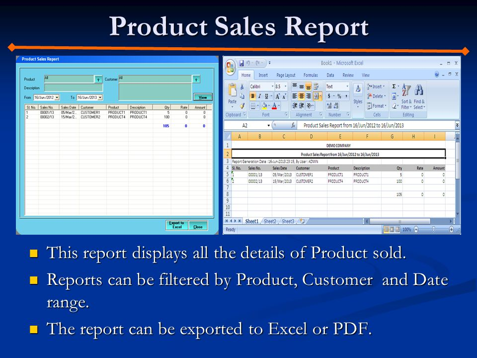 Product Sales Report This report displays all the details of Product sold. This report displays all the details of Product sold. Reports can be filter