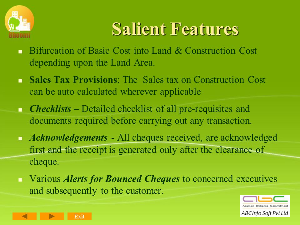 Salient Features Fully compliant with Service Tax Provisions. Each service charge can be defined as different payable percentage (25% or 100% or Nil)