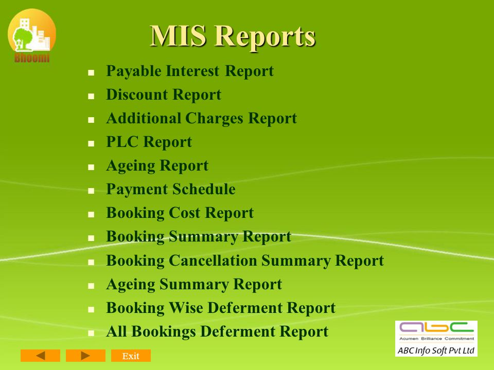 Transfer Payment Report Assured Return Cheques Issued Report Dealer Brokerage Report Dealer Bill Report Employee Incentive Report Document Report Prov
