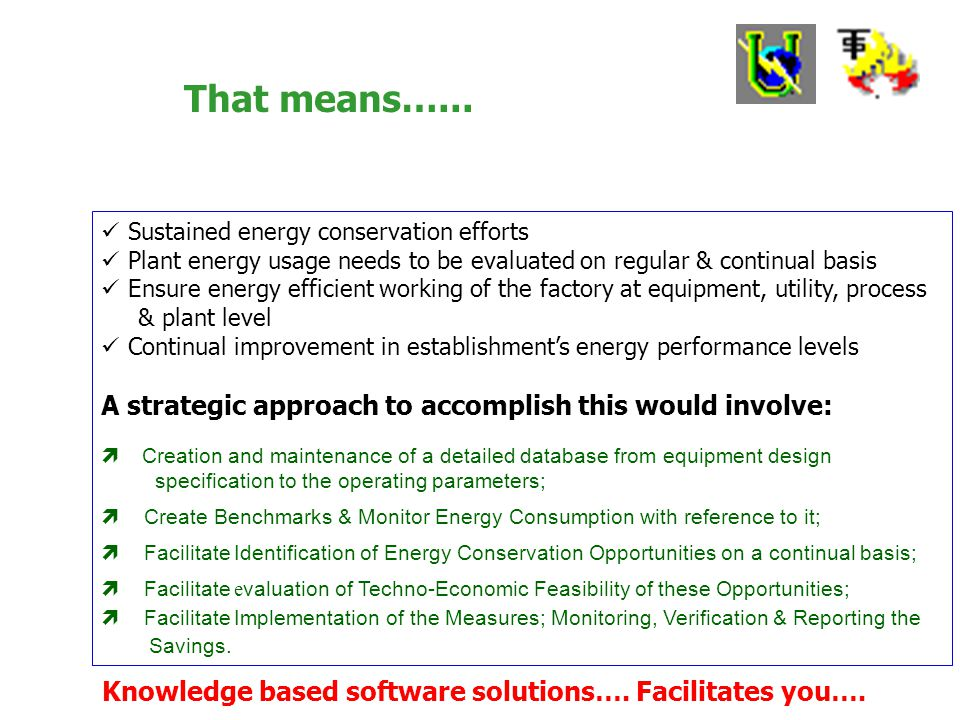 As BEE explain: You as Energy Manager Focal point of all the activities pertaining to energy management in the organization Establish an energy conser