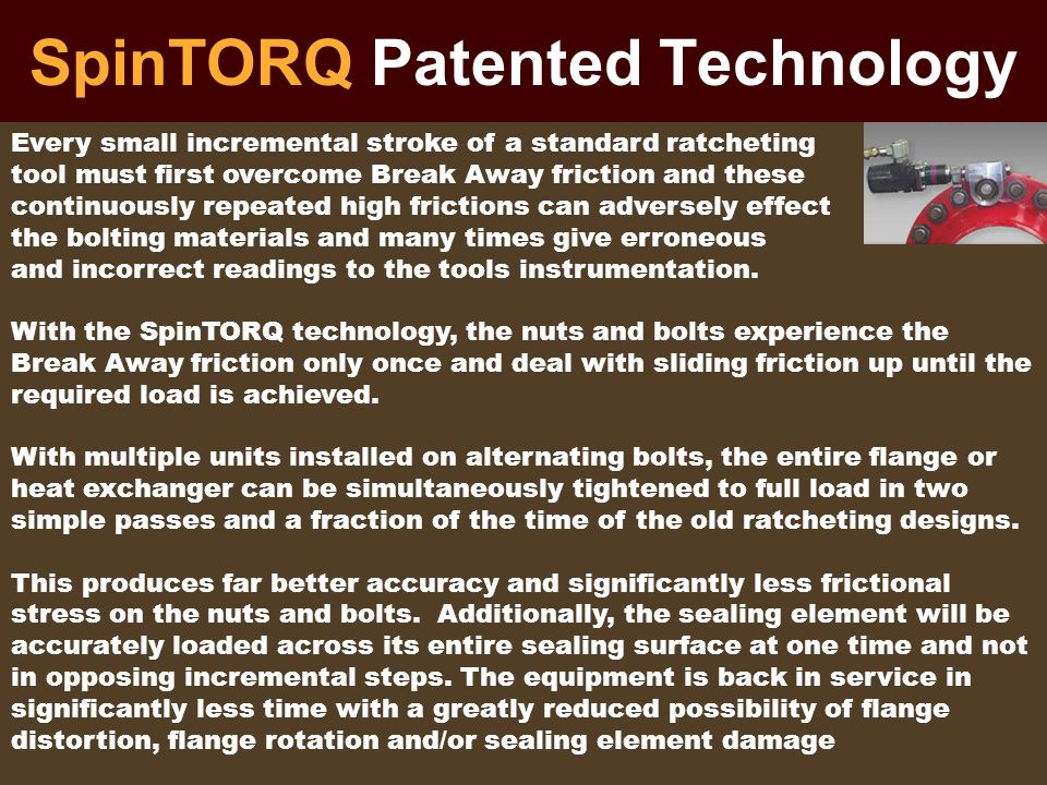 SpinTORQ Patented Technology Every small incremental stroke of a standard ratcheting tool must first overcome Break Away friction and these continuous