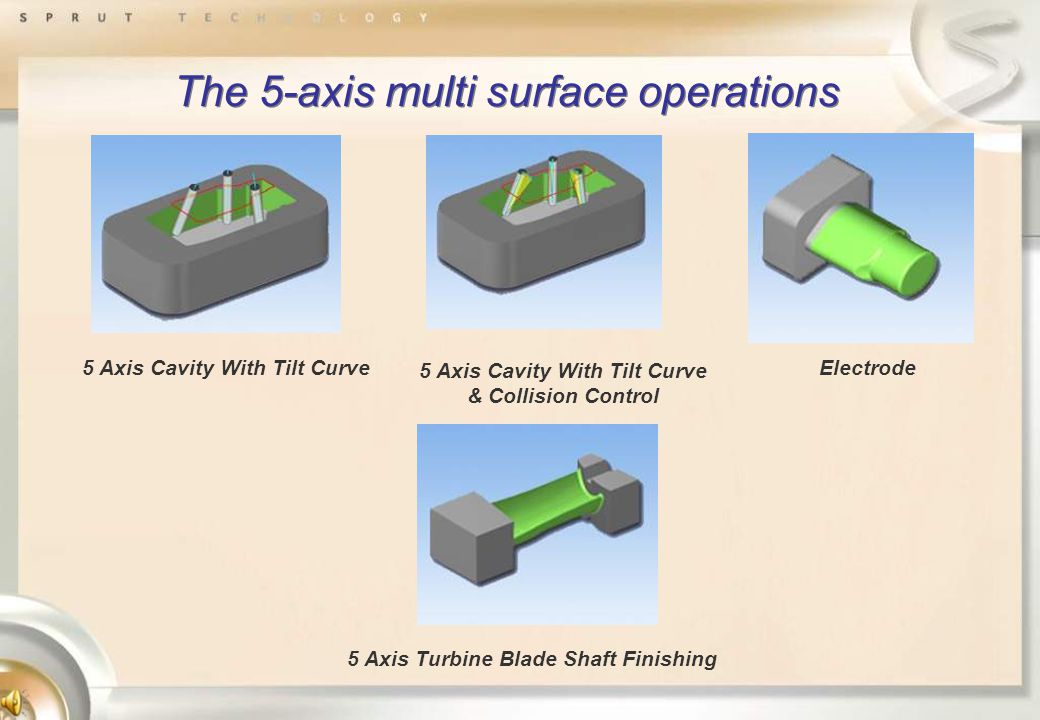 The 5-axis multi surface operations 5 Axis Cavity With Tilt Curve & Collision Control Electrode 5 Axis Turbine Blade Shaft Finishing