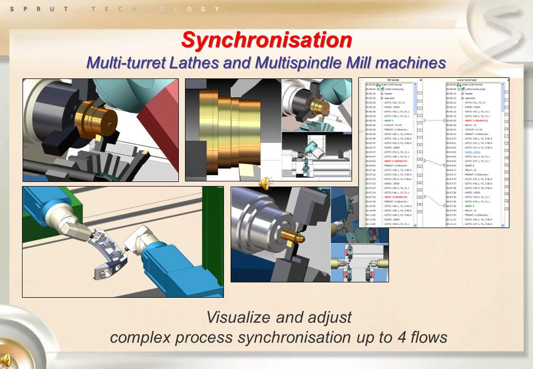 Synchronisation Multi-turret Lathes and Multispindle Mill machines Visualize and adjust complex process synchronisation up to 4 flows