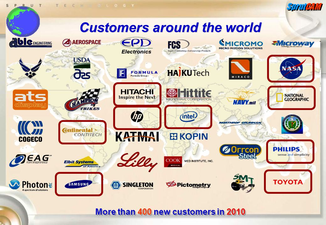 SprutCAM Customers around the world More than 400 new customers in 2010