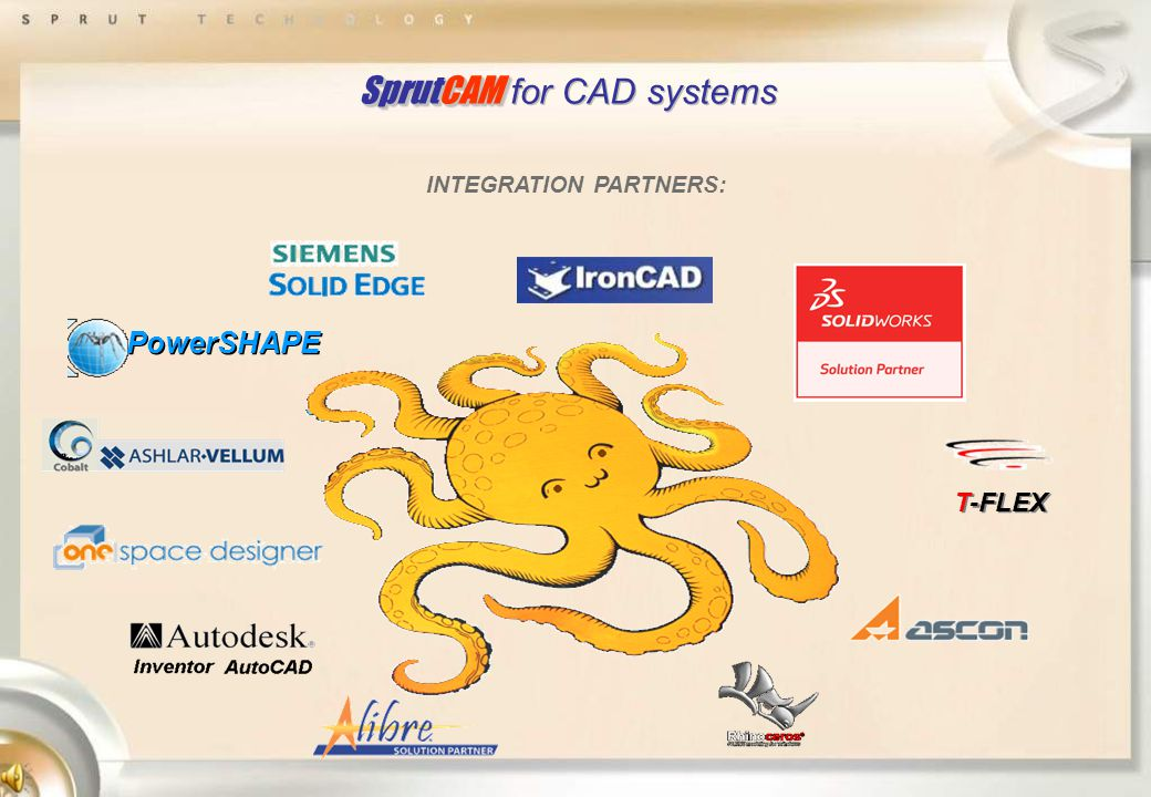 SprutCAM SprutCAM for CAD systems T-FLEX PowerSHAPE INTEGRATION PARTNERS: