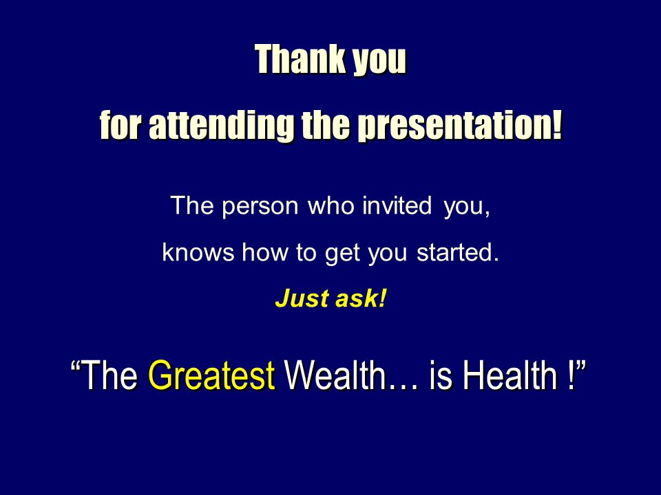 Thank you for attending the presentation! Thank you for attending the presentation! The person who invited you, knows how to get you started. Just ask