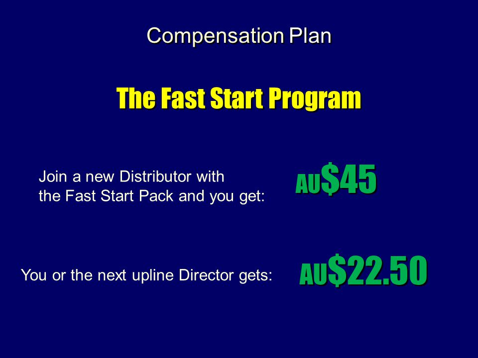 Compensation Plan The Fast Start Program AU $45 AU $22.50 Join a new Distributor with the Fast Start Pack and you get: You or the next upline Director gets:
