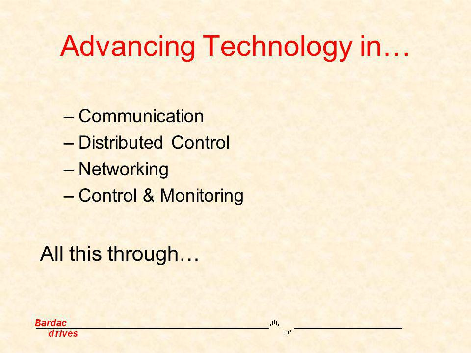 Advancing Technology in… –Communication –Distributed Control –Networking –Control & Monitoring All this through…