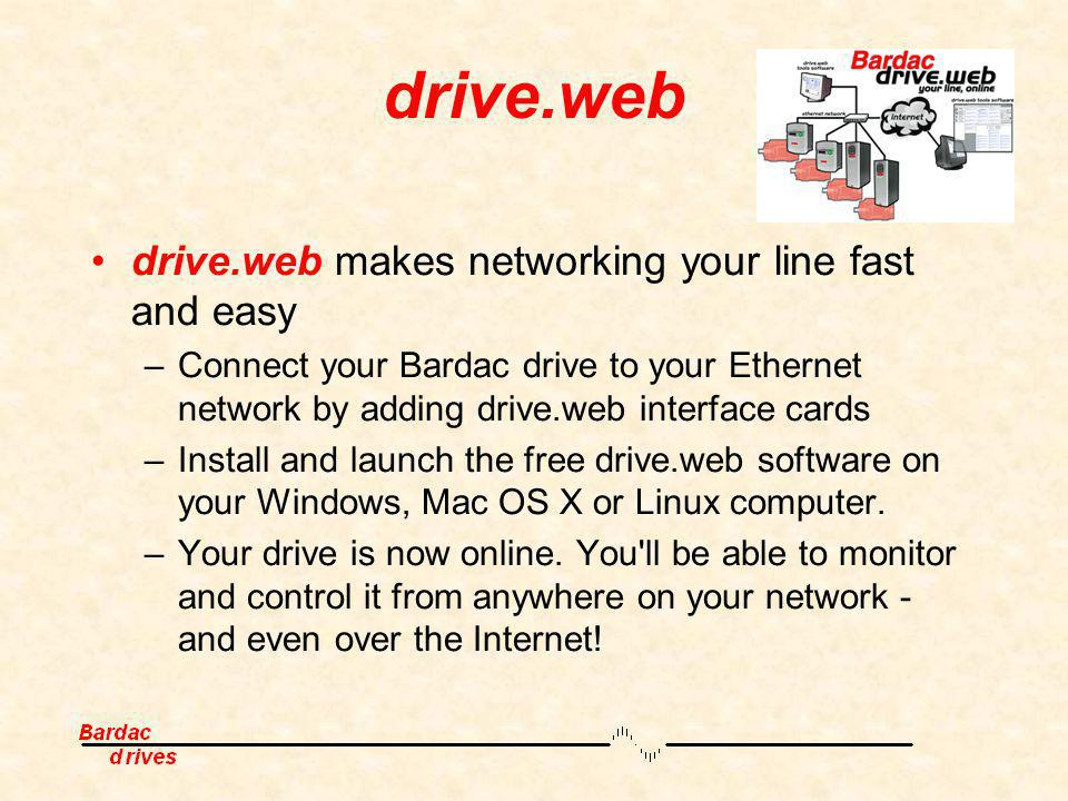 drive.web drive.web makes networking your line fast and easy –Connect your Bardac drive to your Ethernet network by adding drive.web interface cards –