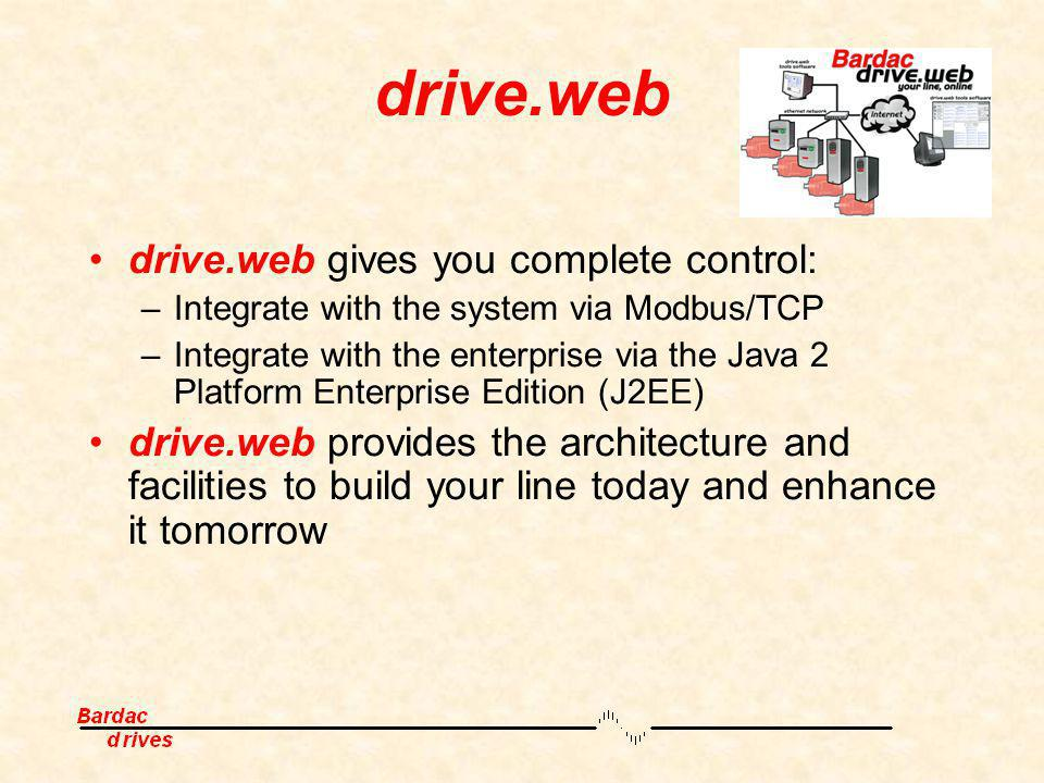 drive.web drive.web gives you complete control: –Integrate with the system via Modbus/TCP –Integrate with the enterprise via the Java 2 Platform Enter