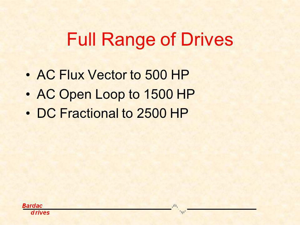 Full Range of Drives AC Flux Vector to 500 HP AC Open Loop to 1500 HP DC Fractional to 2500 HP
