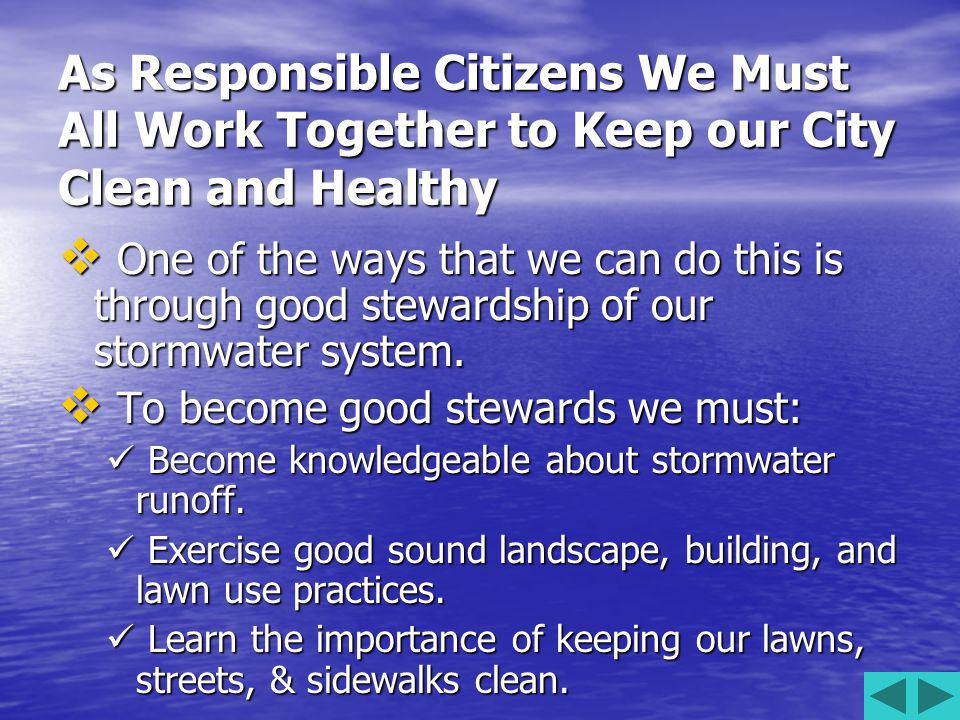 As Responsible Citizens We Must All Work Together to Keep our City Clean and Healthy One of the ways that we can do this is through good stewardship of our stormwater system.
