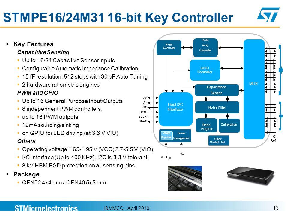 I&MMCC - April 2010 13 Key Features Capacitive Sensing Up to 16/24 Capacitive Sensor inputs Configurable Automatic Impedance Calibration 15 fF resolut