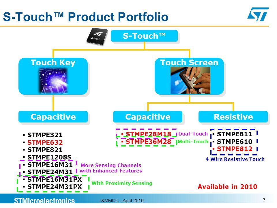I&MMCC - April 2010 7 S-Touch Product Portfolio Capacitive Resistive STMPE321 STMPE632 STMPE821 STMPE1208S STMPE16M31 STMPE24M31 STMPE16M31PX STMPE24M