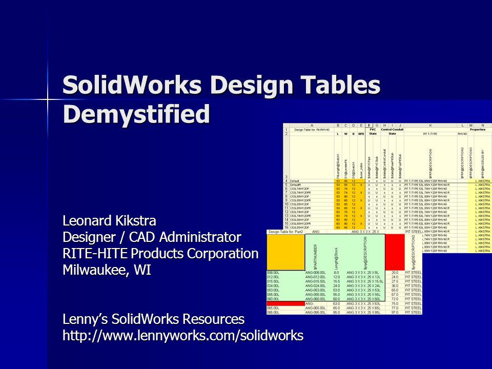 SolidWorks Design Tables Demystified Leonard Kikstra Designer / CAD Administrator RITE-HITE Products Corporation Milwaukee, WI Lennys SolidWorks Resou