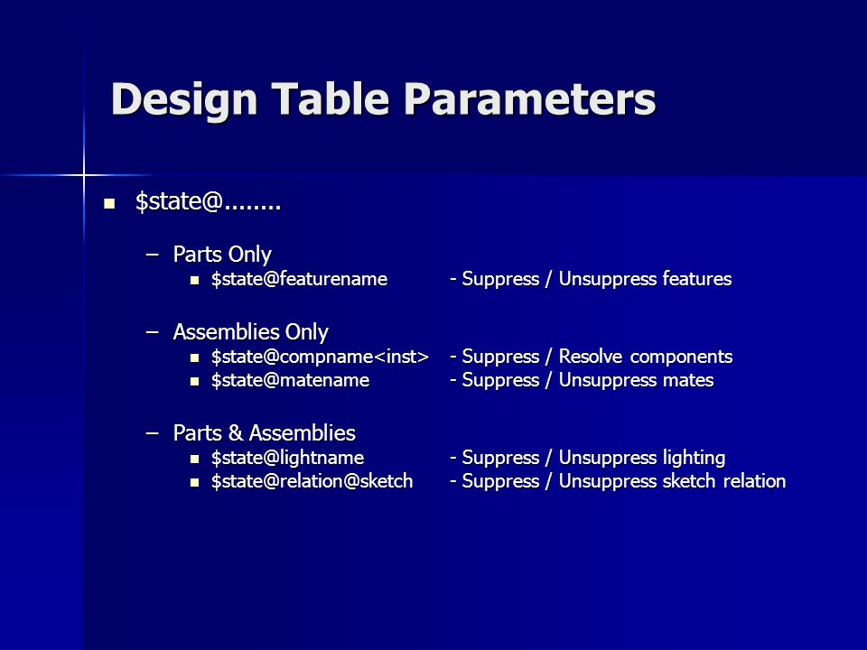 Design Table Parameters $state@........ $state@........ –Parts Only $state@featurename- Suppress / Unsuppress features $state@featurename- Suppress /