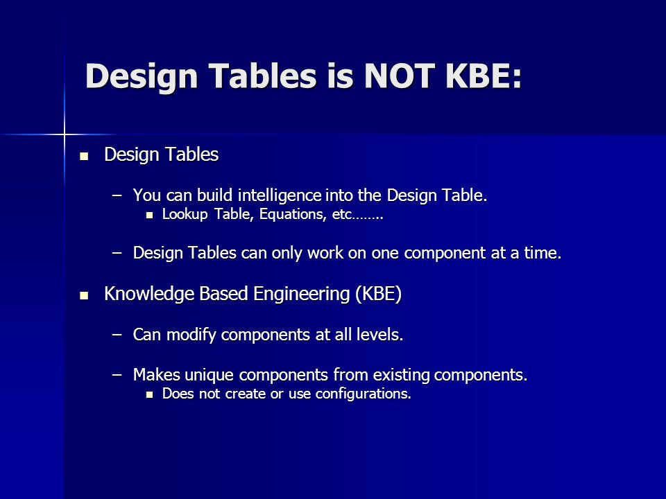 Design Tables is NOT KBE: Design Tables Design Tables –You can build intelligence into the Design Table. Lookup Table, Equations, etc…….. Lookup Table
