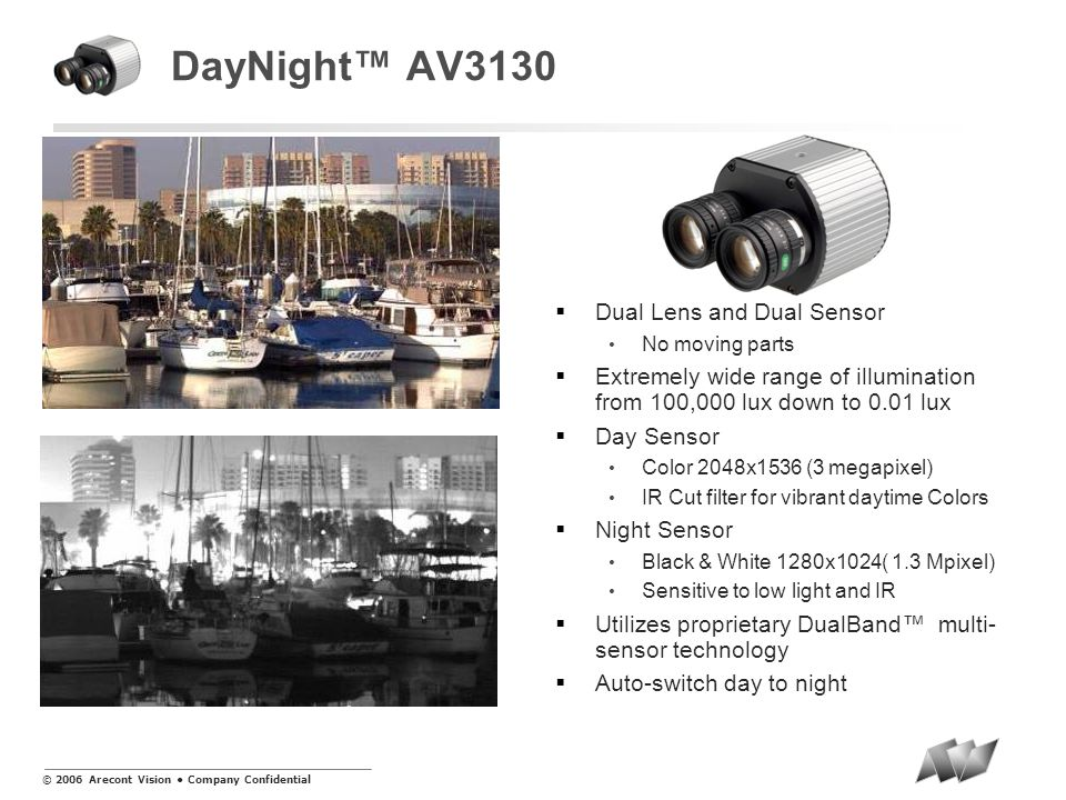 © 2006 Arecont Vision Company Confidential DayNight AV3130 Dual Lens and Dual Sensor No moving parts Extremely wide range of illumination from 100,000 lux down to 0.01 lux Day Sensor Color 2048x1536 (3 megapixel) IR Cut filter for vibrant daytime Colors Night Sensor Black & White 1280x1024( 1.3 Mpixel) Sensitive to low light and IR Utilizes proprietary DualBand multi- sensor technology Auto-switch day to night