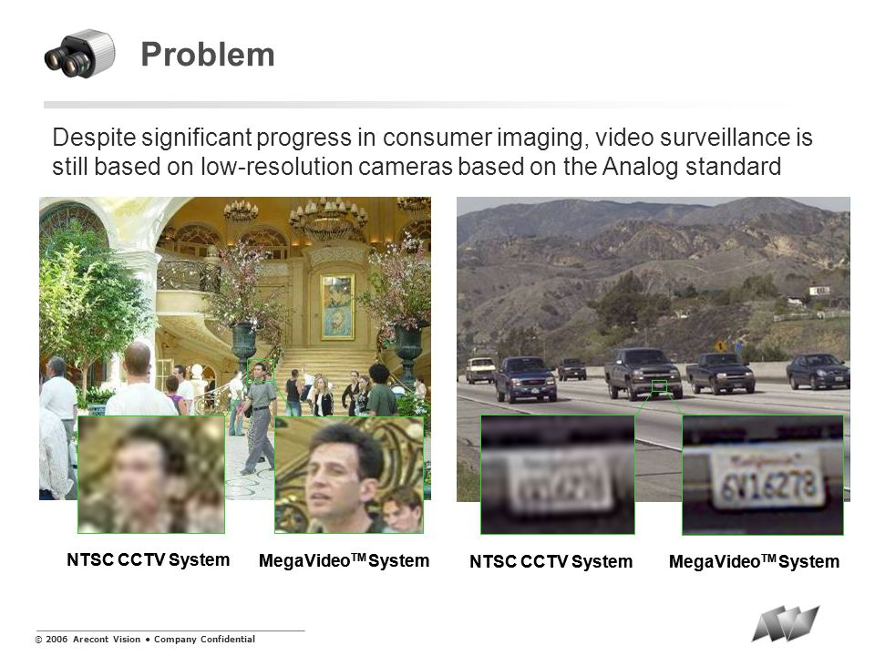 © 2006 Arecont Vision Company Confidential Problem Despite significant progress in consumer imaging, video surveillance is still based on low-resoluti