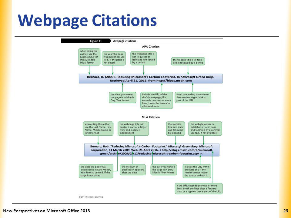 XP Webpage Citations New Perspectives on Microsoft Office 201323