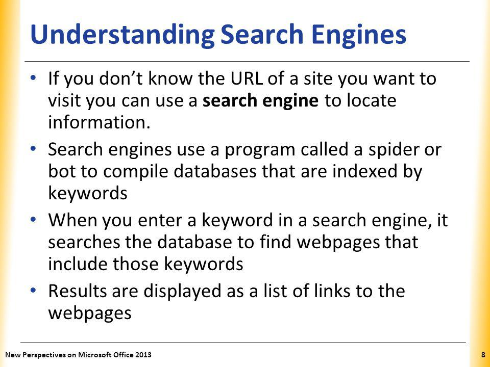 XP Finding Information on the Web Formulating a Search Strategy – Identify your topic – List keywords that represent your topic – Refine your keywords list – Develop your search query A search query is the translation of your original question into a form that a search engine can understand.