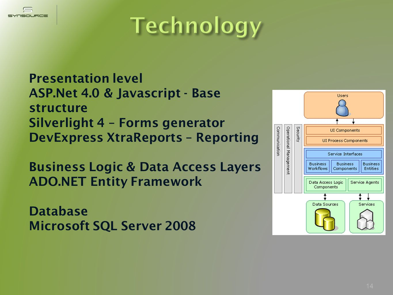 14 Presentation level ASP.Net 4.0 & Javascript - Base structure Silverlight 4 – Forms generator DevExpress XtraReports – Reporting Business Logic & Data Access Layers ADO.NET Entity Framework Database Microsoft SQL Server 2008