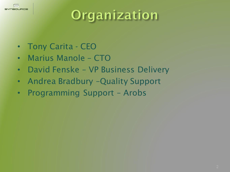 Tony Carita - CEO Marius Manole – CTO David Fenske – VP Business Delivery Andrea Bradbury –Quality Support Programming Support – Arobs 2
