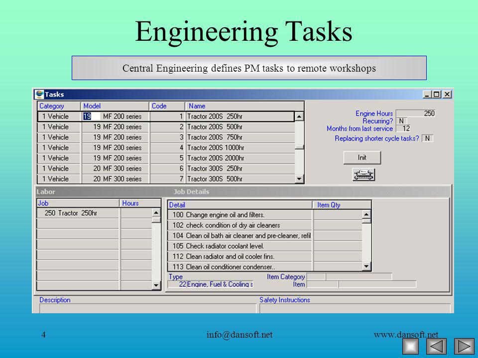 www.dansoft.netinfo@dansoft.net4 Engineering Tasks Central Engineering defines PM tasks to remote workshops