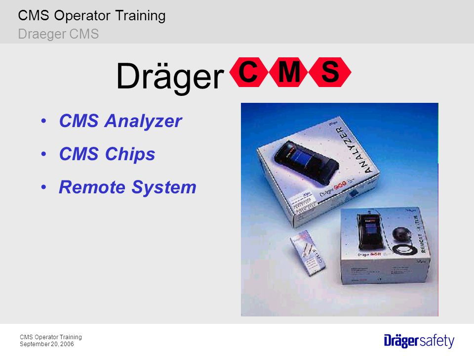 CMS Operator Training September 20, 2006 CMS Operator Training. CMS Analyzer CMS Chips Remote System CSM Dräger Draeger CMS