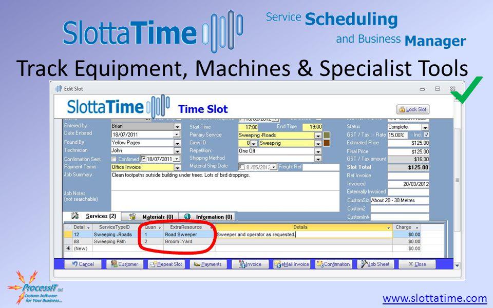www.slottatime.com Track Equipment, Machines & Specialist Tools