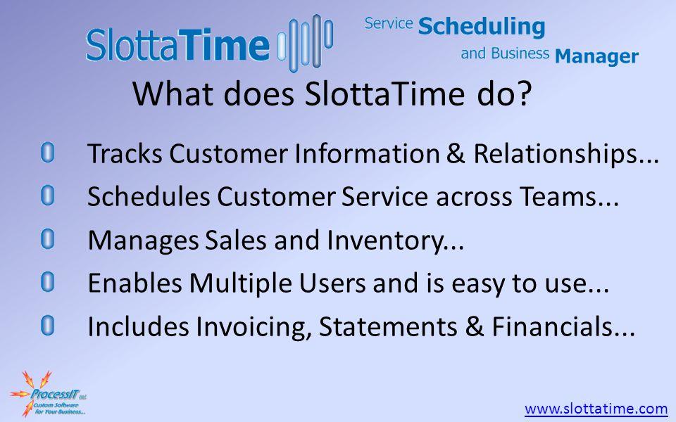 www.slottatime.com Tracks Customer Information & Relationships...
