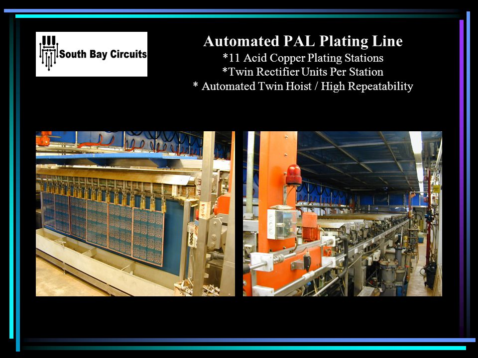 Automated PAL Plating Line *11 Acid Copper Plating Stations *Twin Rectifier Units Per Station * Automated Twin Hoist / High Repeatability Your Logo He