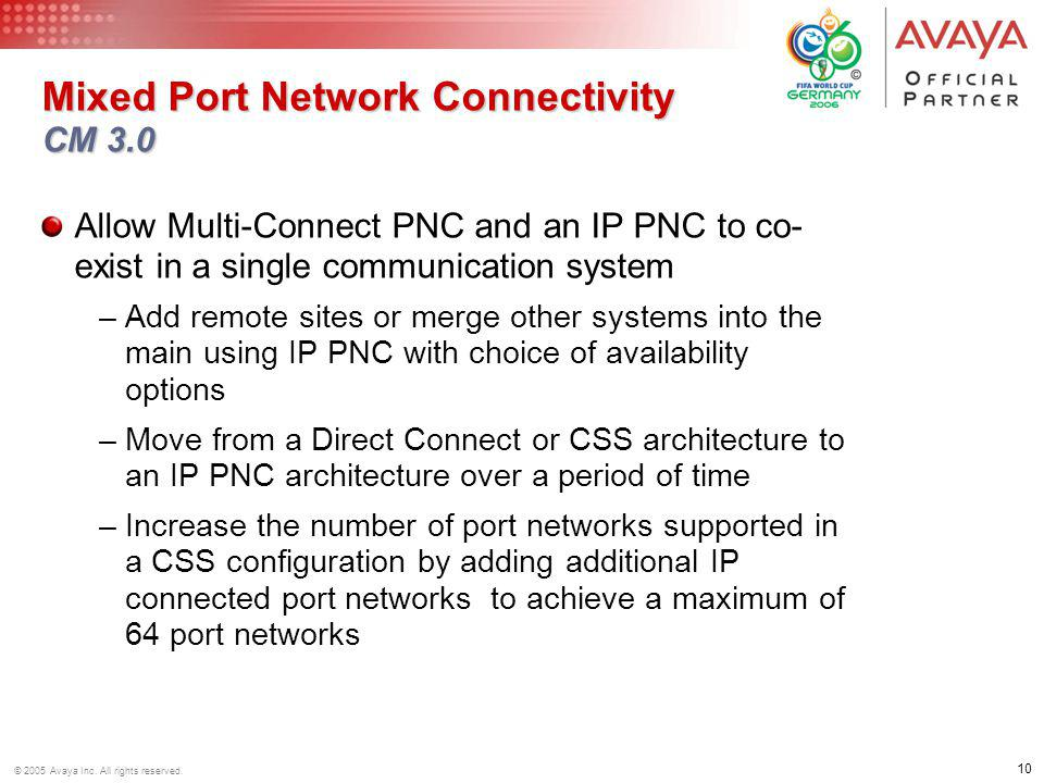 10 © 2005 Avaya Inc. All rights reserved. Mixed Port Network Connectivity CM 3.0 Allow Multi-Connect PNC and an IP PNC to co- exist in a single commun