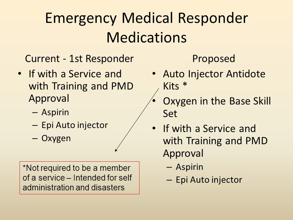 Emergency Medical Responder Medications Current - 1st Responder If with a Service and with Training and PMD Approval – Aspirin – Epi Auto injector – Oxygen Proposed Auto Injector Antidote Kits * Oxygen in the Base Skill Set If with a Service and with Training and PMD Approval – Aspirin – Epi Auto injector *Not required to be a member of a service – Intended for self administration and disasters