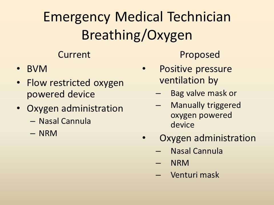 Emergency Medical Technician Breathing/Oxygen Current BVM Flow restricted oxygen powered device Oxygen administration – Nasal Cannula – NRM Proposed Positive pressure ventilation by – Bag valve mask or – Manually triggered oxygen powered device Oxygen administration – Nasal Cannula – NRM – Venturi mask