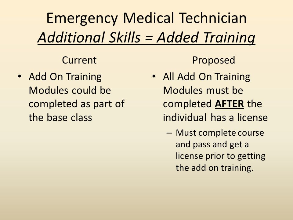 Emergency Medical Technician Additional Skills = Added Training Current Add On Training Modules could be completed as part of the base class Proposed All Add On Training Modules must be completed AFTER the individual has a license – Must complete course and pass and get a license prior to getting the add on training.
