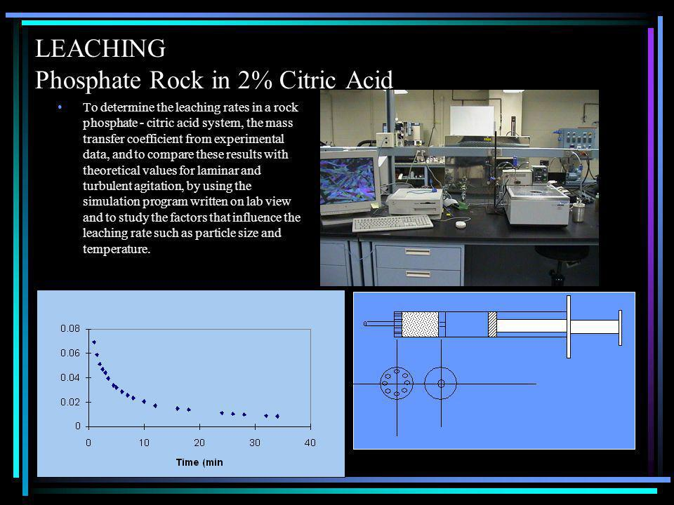 LEACHING Phosphate Rock in 2% Citric Acid To determine the leaching rates in a rock phosphate - citric acid system, the mass transfer coefficient from experimental data, and to compare these results with theoretical values for laminar and turbulent agitation, by using the simulation program written on lab view and to study the factors that influence the leaching rate such as particle size and temperature.