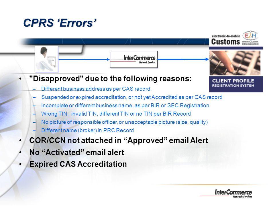CPRS Errors