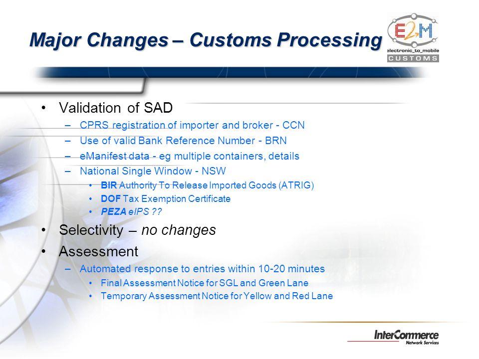 Major Changes – Customs Processing Validation of SAD –CPRS registration of importer and broker - CCN –Use of valid Bank Reference Number - BRN –eManif